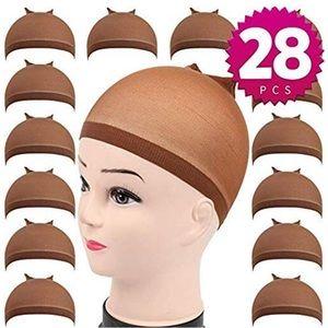 ♥️ 28 pack Brown Nylon  stocking Wig Caps * NWT*